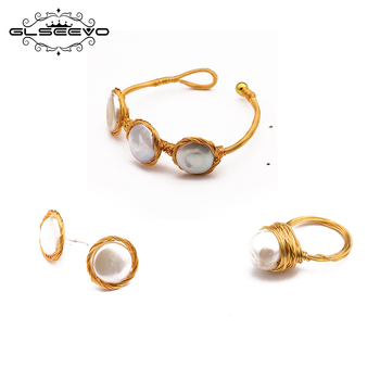 GLSEEVO Original Design Natural Baroque Pearl Necklace Ring Stud Earring Cuff Bangle Sets Women's  Minimalist Jewelry Set GS0004