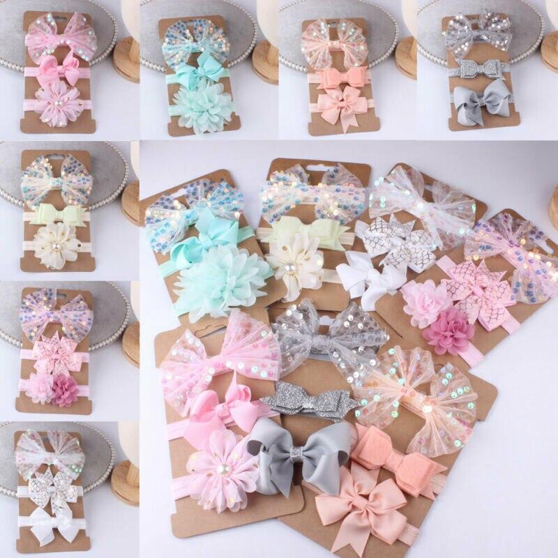 3PC Baby Girl Hairband Toddler Lace Bow Hair Band Headwear Flower Kids Headband Girls Headband Toddler Hair Accessories Gift