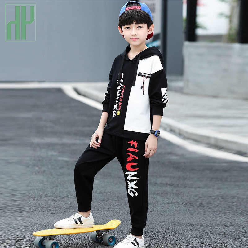 Zestaw ubrań dla dzieci chłopców bluza spodnie 2 sztuka strój jesień maluch ubrania Sport garnitur odzież z kapturem dla dzieci 3 8 12 rok