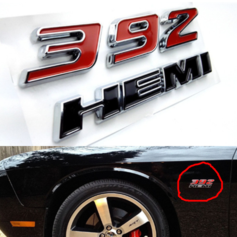 2pcs New Black Hood Hemi Emblem Badge Sticker Replacement for Jeep Ford Jaguar Dodge 2009-2010 Challenger Black