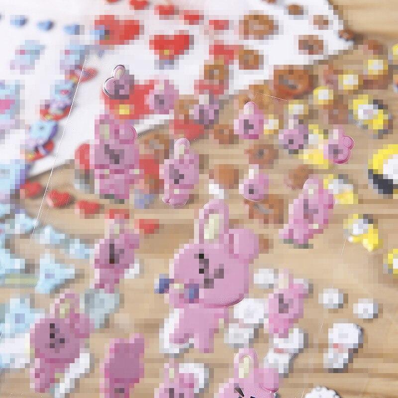 Decoration Sticker Toys Bubble-Sponge Gift Bangtan Character Boys Cartoon Kawaii KPOP
