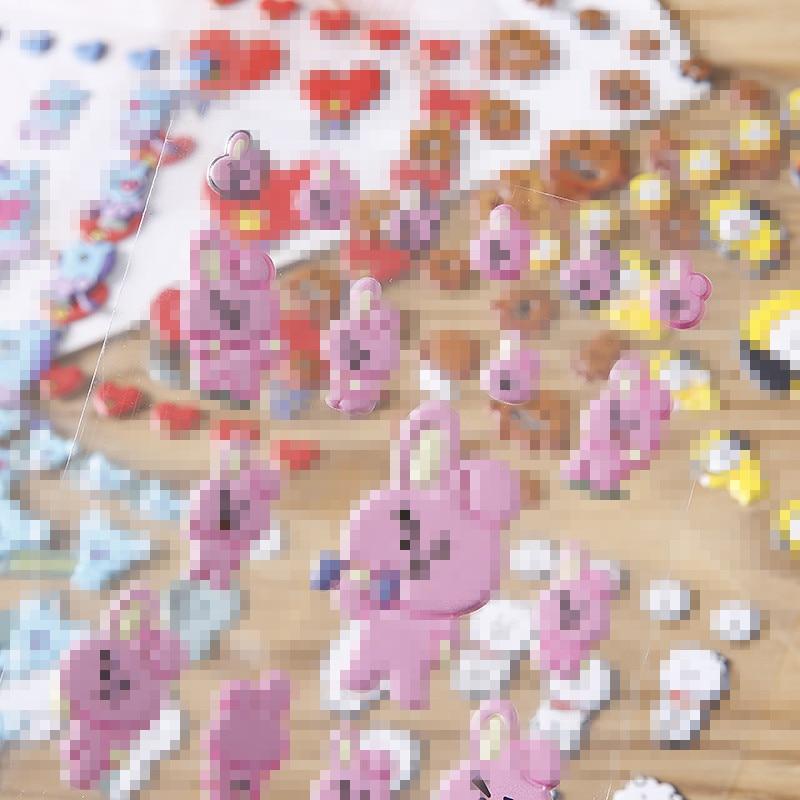 Cute Kawaii DIY 3D Bubble Sponge Stickers Cartoon Bangtan Boys Character Decoration Sticker Toys For KPOP Fans Gift