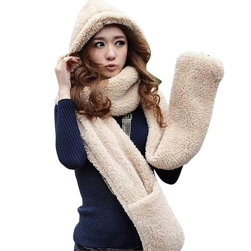 High Quality Female Winter Warm Soft Plush Faux Fur Hooded Cap Set Hat Scarves Scarf Gloves A Nice Gift For Woman Girl