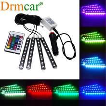 4X araba RGB Led fren şeridi ışık 5050 SMD oto uzaktan kumanda dekoratif esnek atmosfer lamba ek iç dekorasyon