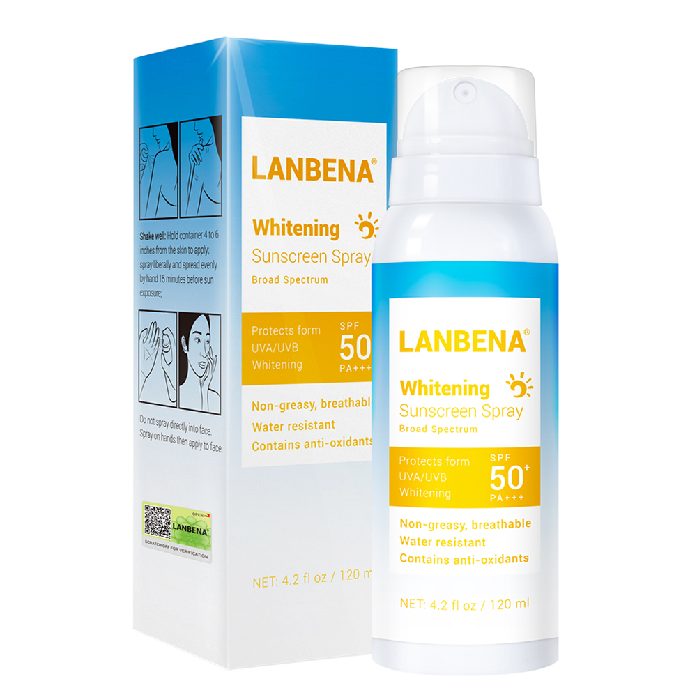 LANBENA Whitening Sunscreen Spray Anti-uv Face & Body Sunscreen Anti-oxidant Sunblock Cream For UVA/UVB Protection 120ml/Bottle