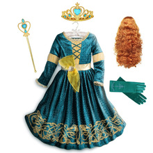 Inspired From Cartoon Movie Brave Princess Merida Dresses for Girls Fancy Scotland Kingdom Merida Kids Halloween Cosplay Costume