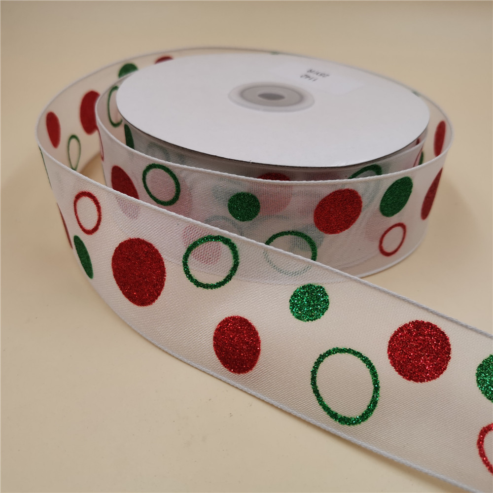 10mm Organza Ribbon Red White Dots 7m Roll