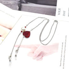 Glasses Chain Charm-Mask Neck-Strap Crystal Stainless-Steel Heart Red Silver-Color Luxury