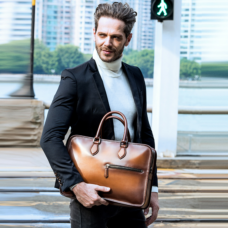DIMY Vintage Handmade Italian Genuine Leather Briefcase Men Hand Patina Messenger Shoulder Bags Laptop Business Case Men's Bags