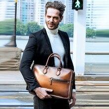 DIMY Vintage el yapımı İtalyan hakiki deri evrak çantası erkekler el Patina Messenger omuz çantaları dizüstü iş durumda erkek çanta