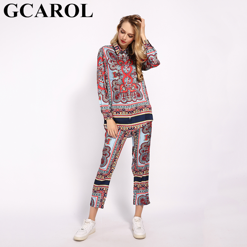 GCAROL 2019 Fall Women'sets Totem Floral Long Blouse Ankle Length Vintage Streetwear 2 Pieces Outfits F/W