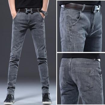 Mens Skinny Jeans 2020 Brand Embroidery Pencil Pants Trousers Men Casual Slim Mens Designer Jeans Elastic Streetwear Denim Pants ligao men s jeans trendy leisure elastic slim pencil pants trousers male denim pant royal blue mens jeans vaqueros plus size
