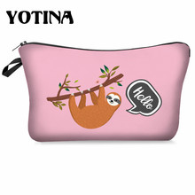 Yotina Makeup organizer Women Cosmetic Bag With Multicolor Pattern sloth 3D Printing  Cosmetics Pouchs For Travel makeup bag