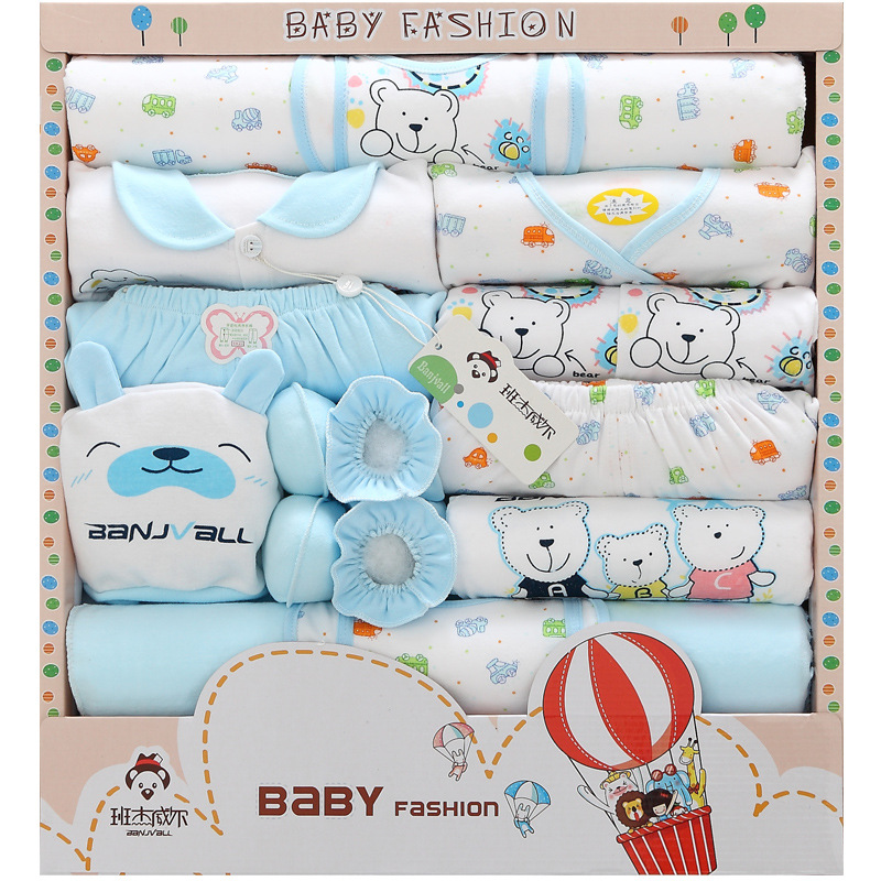 18 Pieces Pure Cotton Primary Clothes For Babies Spring Clothing Newborns Gift Box Maternal And Child Supplies BABY'S FIRST Mont