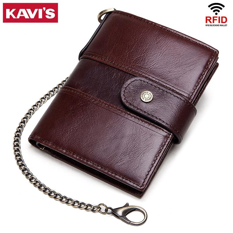 KAVIS Rfid Genuine Leather Wallet Men Coin Purse PORTFOLIO Male Cuzdan Portomonee Perse Money Bag Small Card Holder Clutch Slim