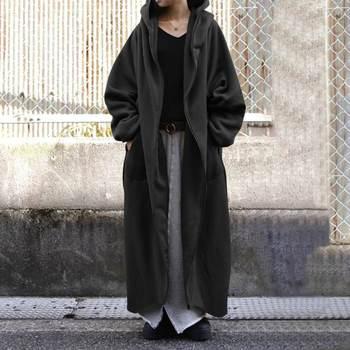 Winter Long Sleeve Sweatshirt Coat Plus Size ZANZEA Women Hooded Outwear Autumn Hoodies Fleece Long Jackets Loose Overcoats 7 4