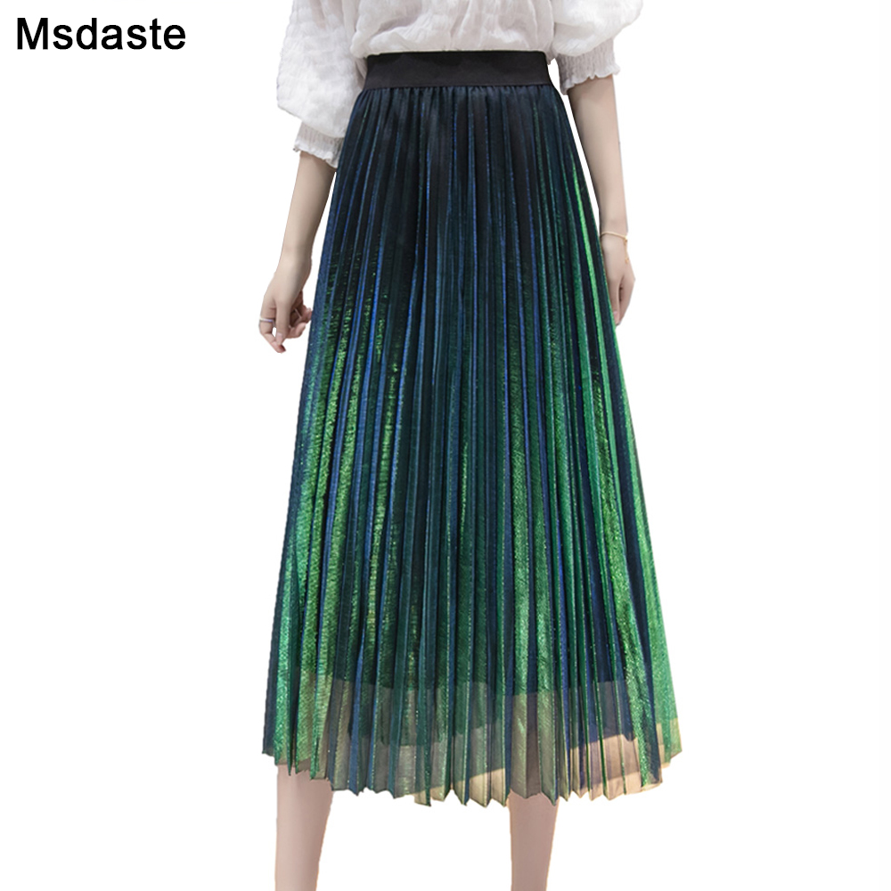 Women Summer Pleated Skirts 2019 Mesh Midi Saia High Waist Vintage Lace Lady Skirt Jupe Femme Falda Etek Mujer Gray Purple Green-in Skirts from Women's Clothing