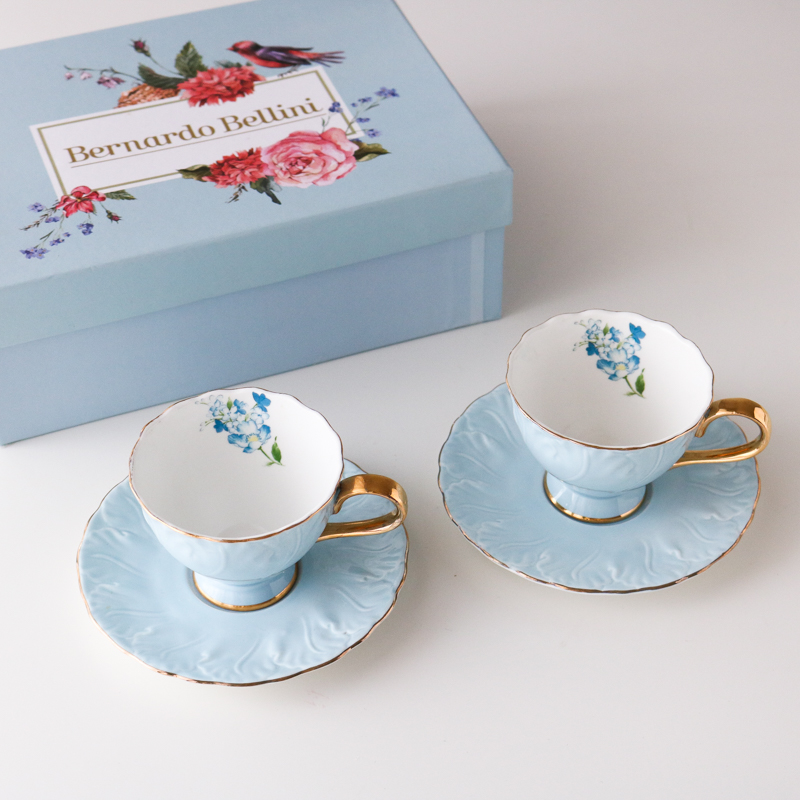 Blue European Ceramic Coffee Cup Gold Handle Bone China Cup and Saucer Set Tea Cup Porcelain Tazzine Caffe Home-drinkware AC50BD