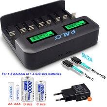 PALO LCD C D 크기 AA AAA 건전지 1.2V NiMH NiCD AA AAA SC C D 크기 재충전 전지를위한 똑똑한 빠른 USB 건전지 충전기