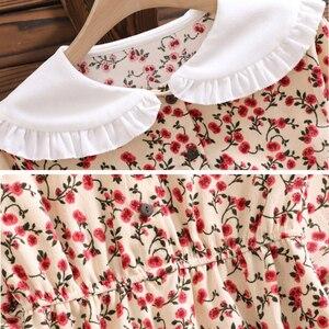 Image 5 - מורי ילדה מתוקה שמלה קוריאני אופנה סתיו נשים פרחוני הדפסת ארוך שמלות נקבה ארוך שרוול שמלת vestidos דה verano 2020