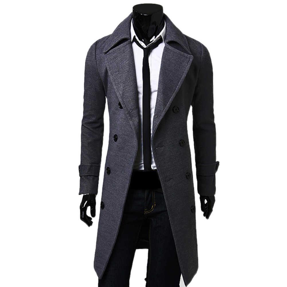Moda ceket erkekler yün ceket kış sıcak katı uzun trençkot göğüslü iş rahat palto Parka erkek ceket kış
