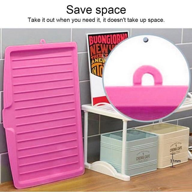Drain Rack Plastic Dish Drainer Tray Sink Dryer Organizer Silicone Drying Mat Worktop Organizer For Kitchen Accessories 5