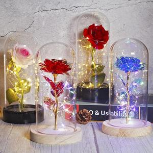 Eternal Rose Forever Beauty And Beast Rose In Flask Led Rose Flower Light Glass Dome Mother's Day Wedding Gift Home Decoration