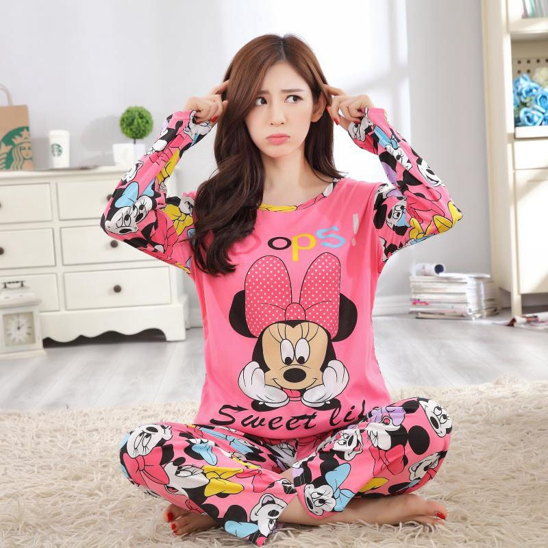 Mickey Minnie Mouse Cartoon Pajamas Women Autumn Winter Large Size  Sleepwear Sleep Clothes Women Mickey Cartoon Pajamas Set