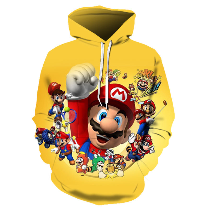 Funny Super Mario Game Super Mary Brothers Cosplay Costume For Adult Kids Cartoon 3D Digital Print Plus Velvet Hooded Sweater