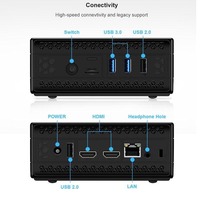 Chatreey AC1-Z Fanless mini pc intel J3455 J4125 Quad core windows 10 linux Dual HDMI  industrial computer HTPC 3
