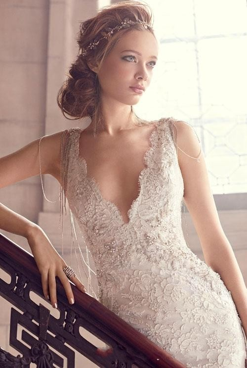 Dreaming Lace Plunging Deep V Neck Backless 2018 Bridal Gown Court Train Backless Custom Bridal Gown Mother Of The Bride Dresses