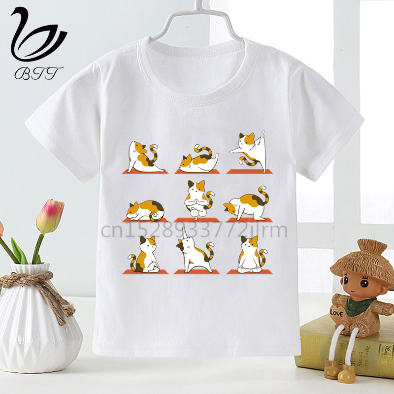 Kids Panda Cat <font><b>Dog</b></font> Yoga T Shirts Boys Girls Animal Yoga <font><b>Tshirt</b></font> Children Cartoon Top Tees image