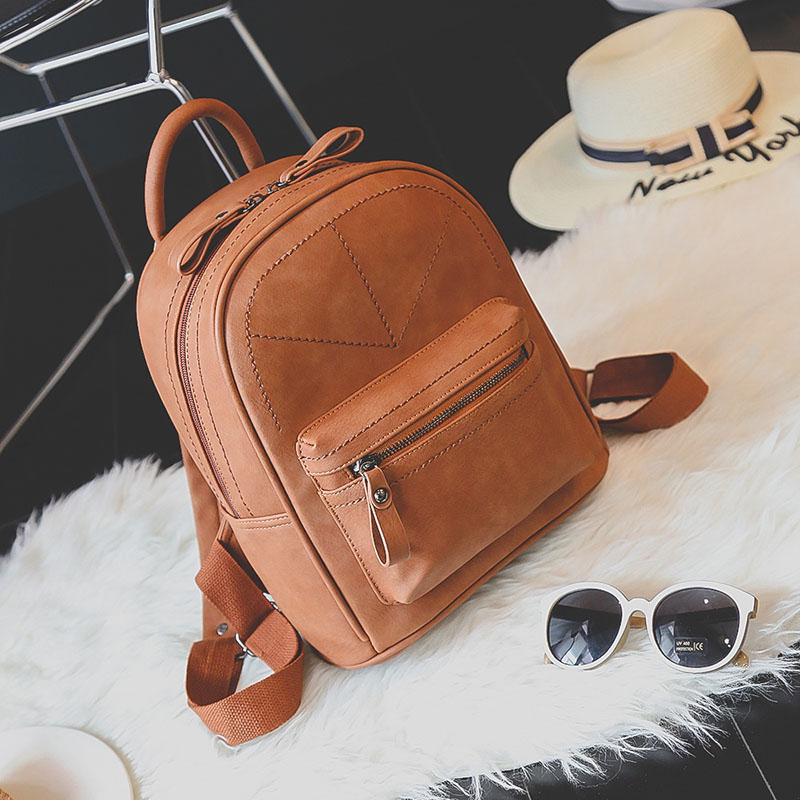 Toposhine Retro Backpack Women PU Leather Bag Women Bag Medium Women Backpack Mochila Feminina School Bags For Teenagers 1591