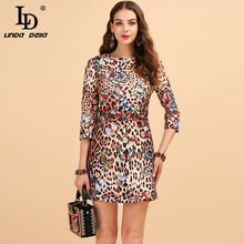 LD LINDA DELLA Autumn Fashion Runway Vintage Dress Women's 3/4 Sleeve Jacquard Butterfly Leopard Print Beading A Line Mini Dress цены