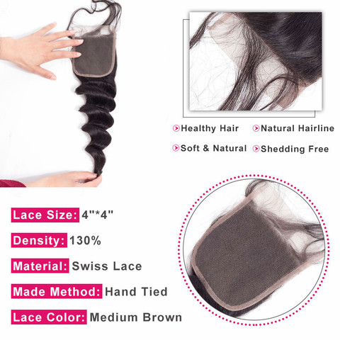 Bling Hair Brazilian Loose Wave Human Hair Closure With Baby Hair 4*4 Free/Middle/Three Part 100% Remy Hair Natural Black Color Karachi
