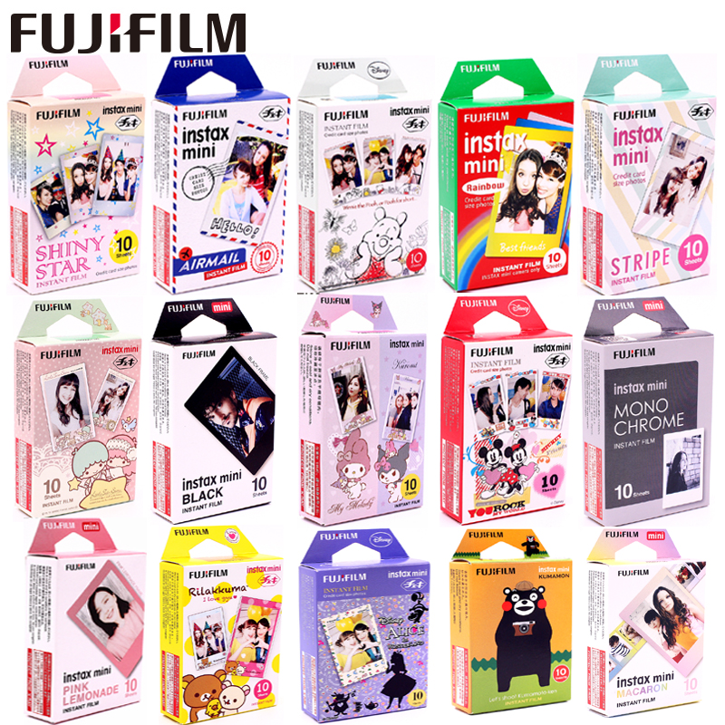Original fujifilm 10 folhas estrelas listra tsum quadro preto minion filme instantâneo foto papel para instax mini 8 7s 25 50s 90 9 SP-1