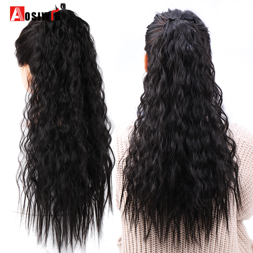 AOSIWIG Long Curly Ponytail Hairpiece Heat Resistant Synthetic Hair Tail Clip Long Drawstring Ponytail Clip Hair Extensions