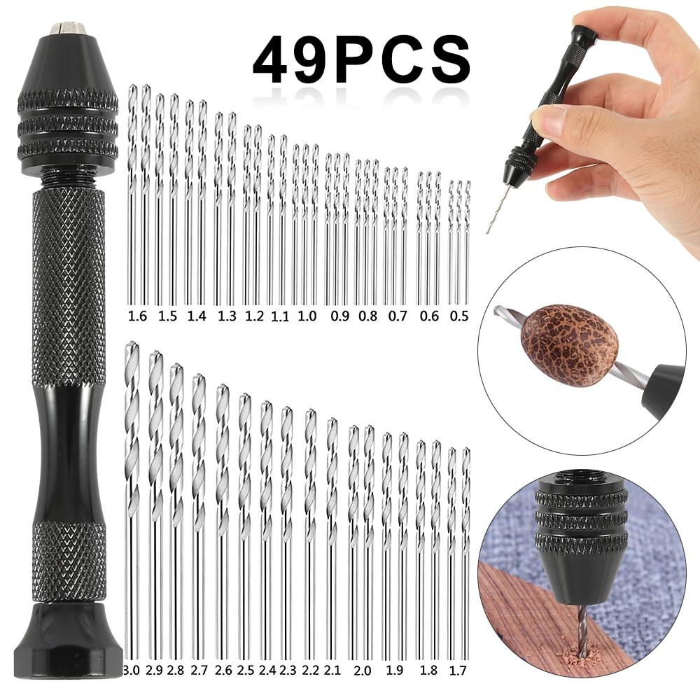 49 pçs mini torção broca conjunto micro alumínio broca de mão com mandril keyless mão manual broca carpintaria perfuração ferramentas rotativas