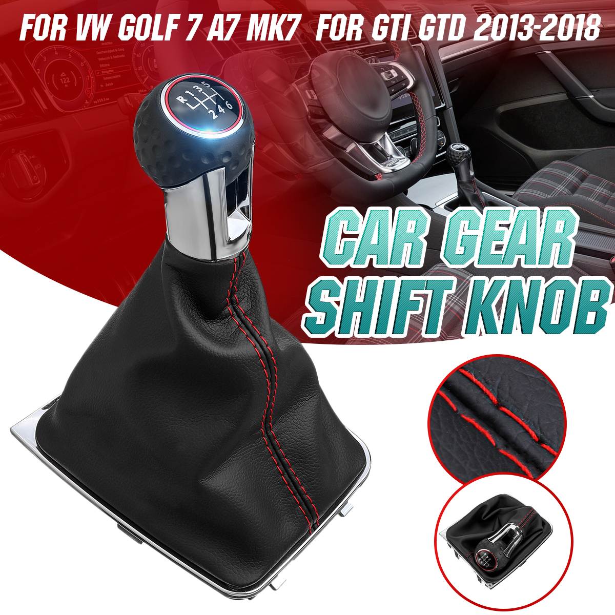 <font><b>6</b></font> Speed Car Gear Shift Knob Leather Gaiter Boot Cover Lever Shifter Collar For <font><b>VW</b></font> <font><b>Golf</b></font> 7 A7 MK7 For GTI <font><b>GTD</b></font> 2013-2018 image