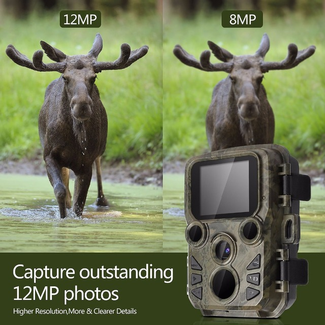 Mini Hunting Camera 12MP 1080P HD Video Night LEDs IR Trail Cam Track IR LEDS Range Up To 65ft Photo-Traps