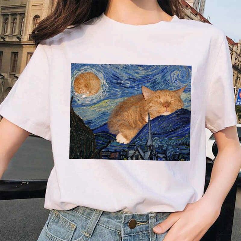 Van Gogh Cat Women T Shirt Art Oil Painting Lattice Print New Cute Female T-shirt Casual Harajuku Tshirt Funny Ulzzang Grunge