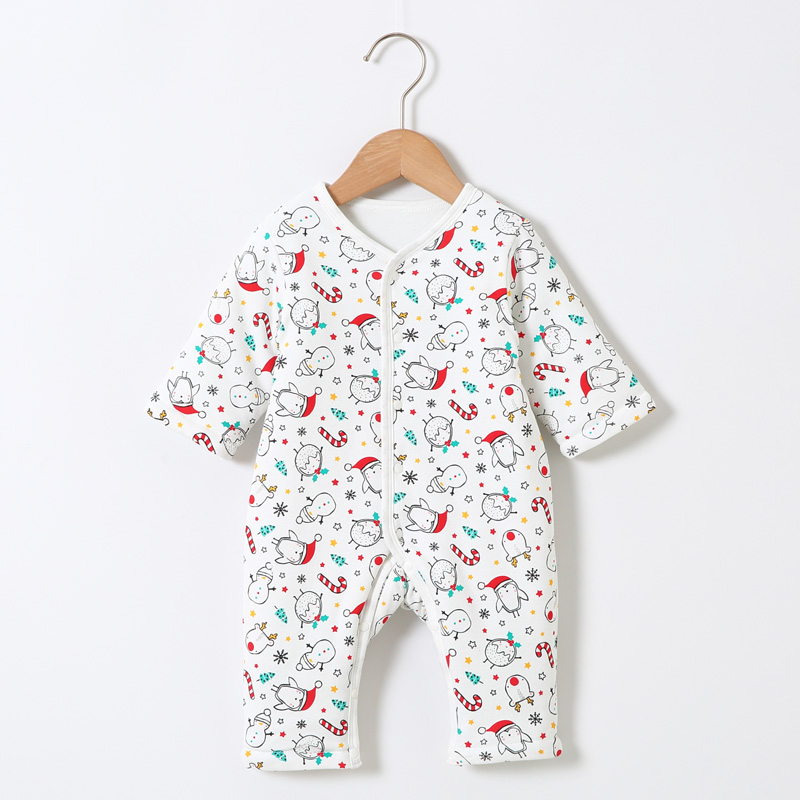 Baby Romper 100% Cotton Warm Pajamas Baby Overalls Kids Clothes Baby Boys Clothes Girls Clothes Front Opening Round Neck Romper