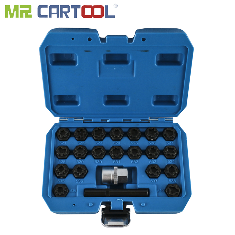 MR CARTOOL 22Pcs Wheel Lock Kit For VAG Special Anti-theft Lug Nut Screw Removal Key Socket Set