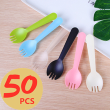 50pcs/set Disposable Plastic Spoons Forks for Cake Ice Cream Salad Fruit Dessert Soup Tea Coffee Party Cake Baking Shop Supplies cake soup