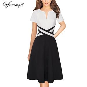 Image 5 - Женское осеннее платье трапеция Vfemage с длинным рукавом и передними карманами на молнии, повседневное Деловое платье для офиса и вечеринок, трапециевидного силуэта, 671C