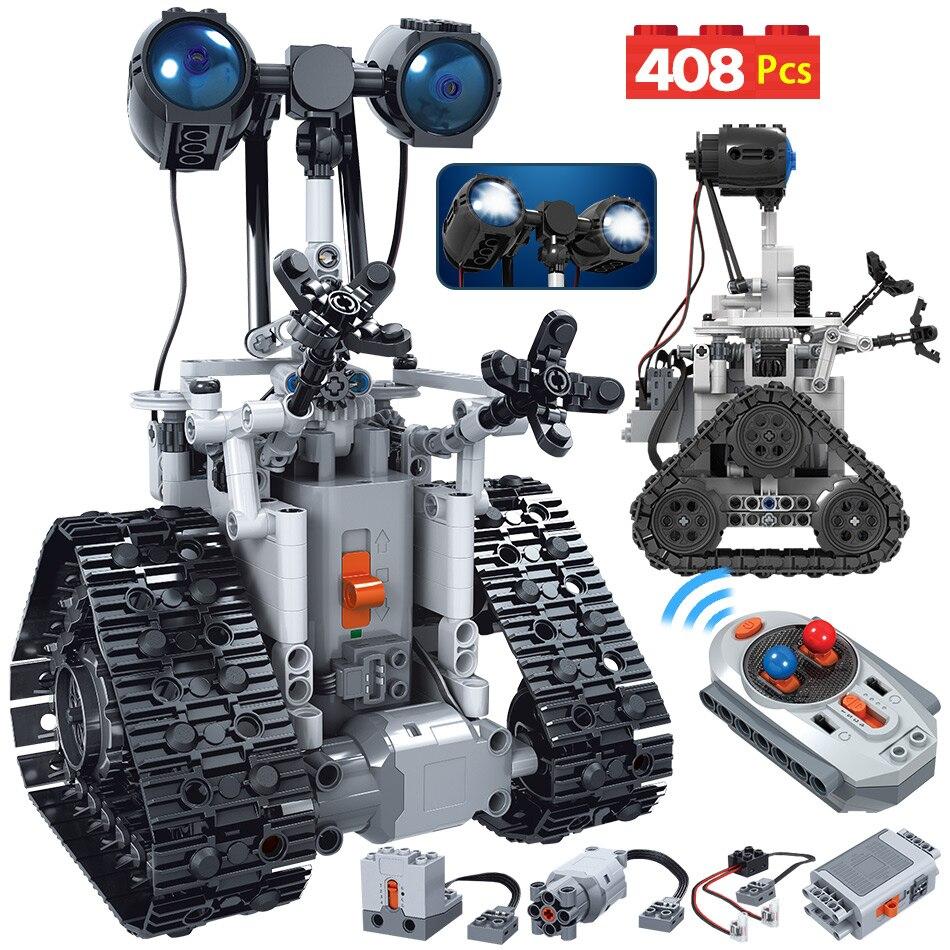 3068.18руб. 10% СКИДКА|408 шт., креативный RC робот, электрические строительные блоки, сделай сам, сборка, техника, пульт дистанционного управления, умный робот, кирпичи, игрушки для мальчиков|  - AliExpress