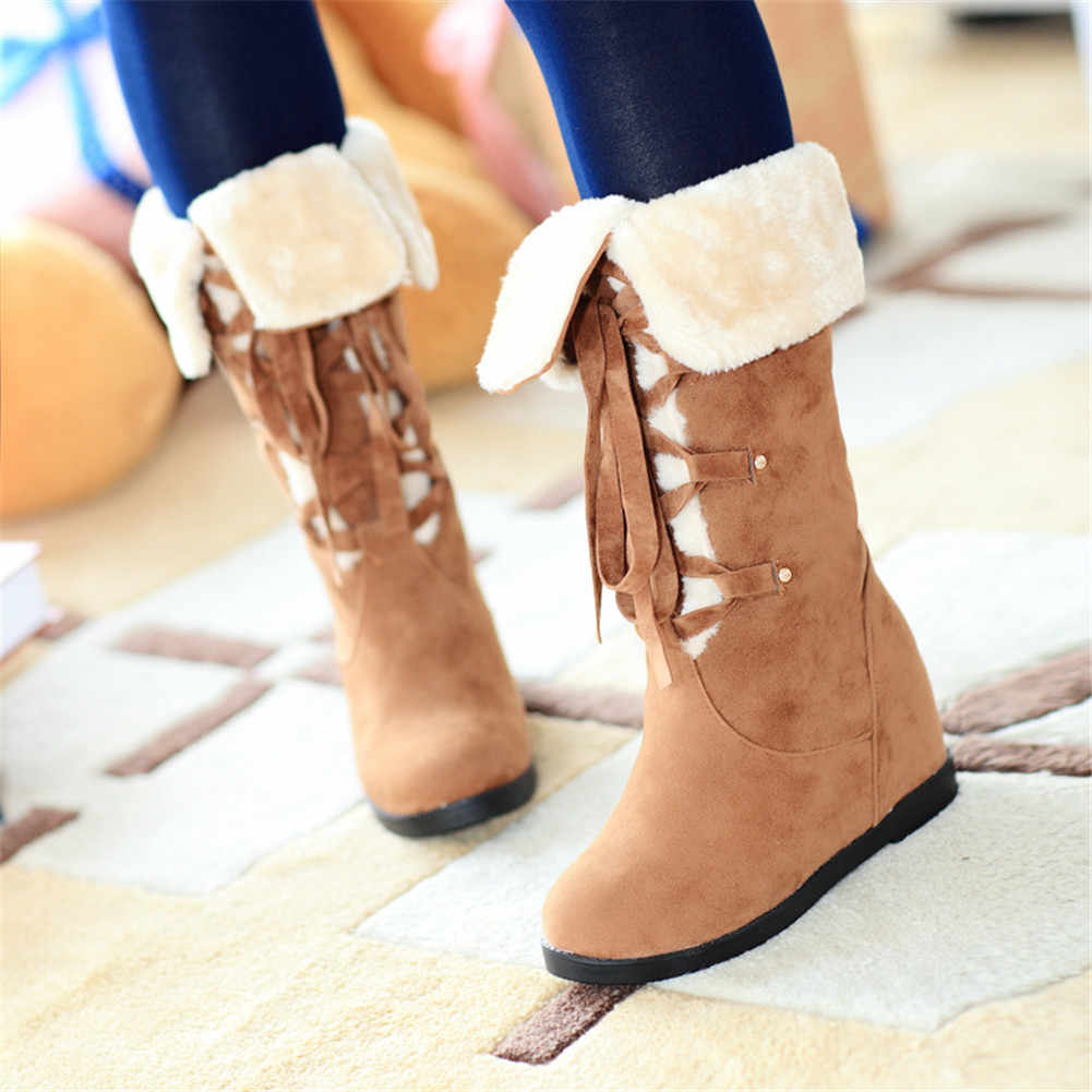 BONJOMARISA ใหม่กระชับ lace-up รองเท้าบูทผู้หญิงฤดูหนาวหิมะกลางรองเท้าผู้หญิง 2019 Elegant tured -ขอบเหนือรองเท้าผู้หญิง