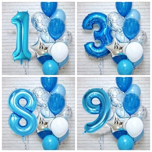12pcs/lot boy Birthday Balloons with 40inch blue Number baloon 3/3rd Birthday Party Decoration Kids anniversaire 9/1/3 years old(China)