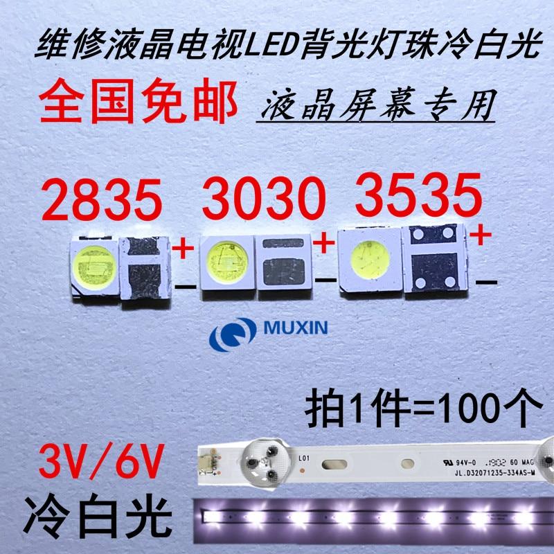 Retroiluminação led lg tv, 50-100 peças 2835 3030 3v 6v 1w 3w kit eletronica led para reparação de lcd tv, branco frio