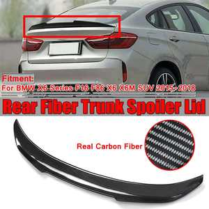 New Real Carbon Fiber Car Rear Trunk Boot Lip Spoiler Wing Big For BMW X6 Series F16 F86 X6 X6M SUV 2015-2018 PSM Style(China)